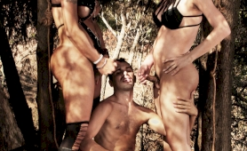 Two lady boy dommes double team this slave