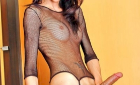 Longmint in fishnet top and stockings wanks it off