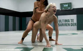 Hot chinese milf kicks the ass of hot 19yr old blond, then fucks