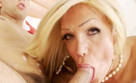 Busty yellow-haired she milf slammed in vacation home