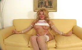 Big Boobs Blonde Shemale With Pierced Nipples Talks About Her On The Casting Couch
