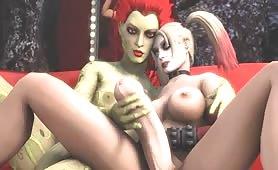 Painted Skin Strange Redhead Fantasy Shemale Handjob And Big Dick Riding