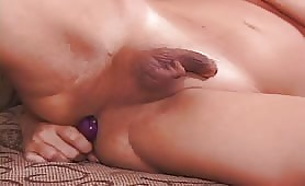 Ugly Shaved Blonde Horny Shemale Dildofuking Her Ass And Rubbing Her Tiny Cock