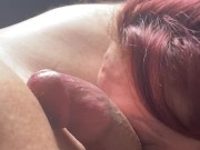 sweet trans gives bi studs first time blowjob POV